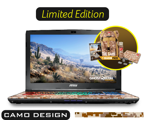 MSI GE62 7RE-684NL Camo Squad Limited Edition Gaming Notebook